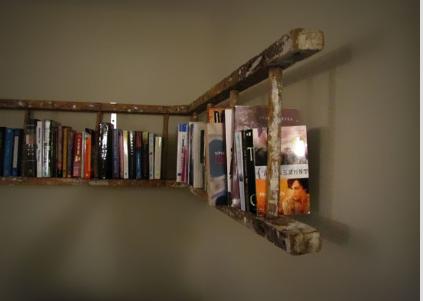 Oude ladder boekenrek