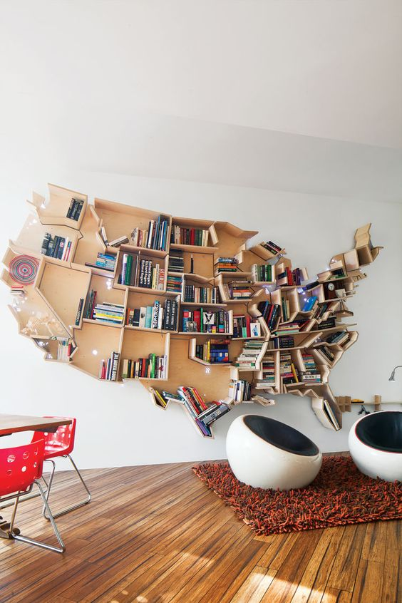 Landkaart boekenkast